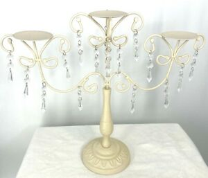 Gorgeous Ivory Candlebras with Plastic Crystals. Pick 1 or 2 .Each for 3 Candles