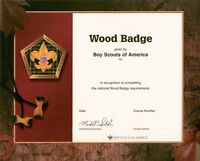 "BOY SCOUT OFFICIAL LICENSED ADULT TRAINING WOOD BADGE CERTIFICATE 8.5"" X 10"" NEW"
