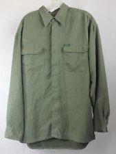 Chaps Ralph Lauren Mens Shirt Long Sleeve Button Green Soft Faux Suede Feeling L