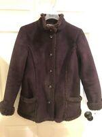 LL Bean Faux Suede Jacket Sherpa Shearling Lined Jacket Women's Sz M Petite