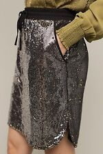 NEW Anthropologie Harlyn Sequin Afterparty Skirt Size L Black Silver Gold $128