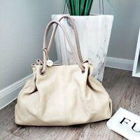 Furla handbag Large Snake Skin Embossed Leather Beige Tote Handbag w/Dust Bag