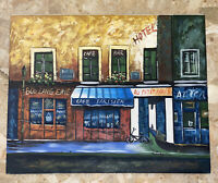 Vintage Hand Painted PARIS Hotel Restaurant Scene Canvas Signed By Artist 17x23""