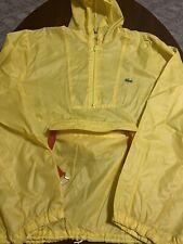 Vintage Izod Lacoste Yellow 1/2 Zip Thin Parka Hooded Rain Jacket Medium M