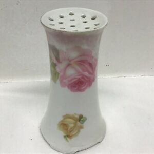 RS Germany Antique Pink Yellow  Rose HATPIN HOLDER Hand Painted Porcelain