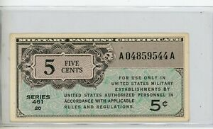 Series 461 $5 Military Payment Certificate AU # 9544