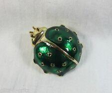 Emerald Green Enamel Ladybug Good Luck Vintage Figural Pin
