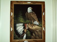 Vintage Framed Eagle & Chief Head Dress Design Velvet Picture/Art On Canvas