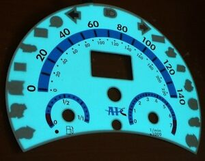 98 99 00 01 02 03 04 VW Beetle Bug Volkswagen Automatic White Face Glow Gauges