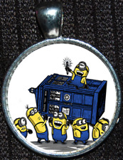 Disney Minions Doctor Who Tardis Time Lord Police Box Jewelry Pendant Necklace