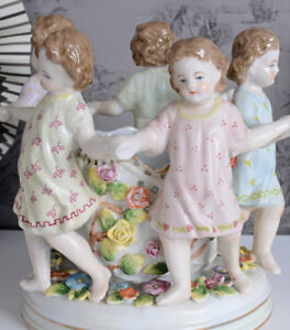 VINTAGE BOWL PORCELAIN DANCING CHILDREN SCULPTURES ANTIQUE STYLE