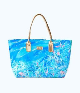New Lilly Pulitzer BREEZY POOL TOTE Bennet Blue Celestial Seas Clear Pink Bag