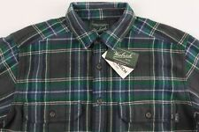Men's WOOLRICH Gray Green Plaid Flannel Cotton Shirt Jacket Large L NWT NEW