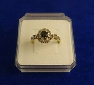 9ct Gold SAPPHIRE DIAMOND CLUSTER DRESS RING Size O 1/2 Vintage Hm 0.05ct 62ff
