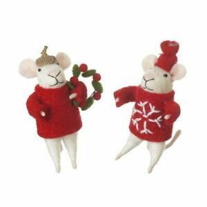 Heaven Sends Set of 2 Standing Mice Christmas  Decorations - Pair Christmas Mice