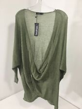 BOOHOO WOMEN'S ISABELLE WRAP  FRONT KNITTED JUMPER KHAKI GRN UK:16/US:12 NWT $40