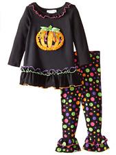 Bonnie Jean Girls Halloween Pumpkin Applique Multi Dot Leggings Outfit Set 2T 4T