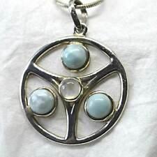 Larimar Moonstone 925 Silver Pendant Crystal Dolphin Stone Blue Pectolite Reiki
