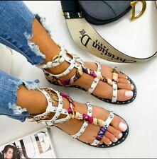 BNIB White Studded Stappy Flat Summer Gladiator Sandals UK 3