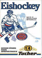 EHC 80 NÜRNBERG - ESV KAUFBEUREN 16.12.1990, 2. Liga Eishockey Programm 90/91