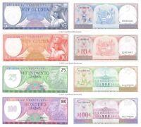 Suriname 5 + 10 + 25 + 100 Gulden 1963-85 Set of 4 Banknotes 4 PCS UNC