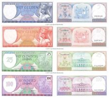 Suriname 5 + 10 + 25 + 100 Gulden 1963-85 Set of 4 Banknotes 4 PCS UNC