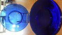 "Cobalt Blue Salad Plates 3 8"" round salad plates Smooth Rim"