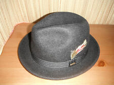 NEW 100%  wool MENS SCALA charcoal grey pinch front FEDORA HAT small
