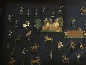 Set Of Early Antique Lead Toy U.S. Cavalry And Native Americans At Frontier Fort