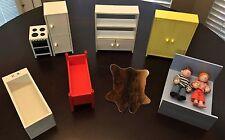 Vintage IKEA Dollhouse Furniture Lot and 2 IKEA Dolls