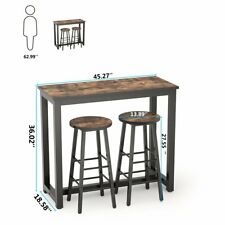 3 PCS Counter Height Dining Set Rustic Brown Table& Stools Kitchen Bar Furniture