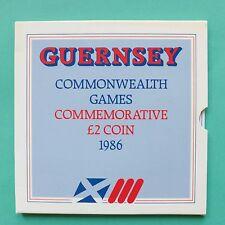 1986 Guernsey Giochi del Commonwealth Due Pound £ 2 CORONA MONETA SNo45241