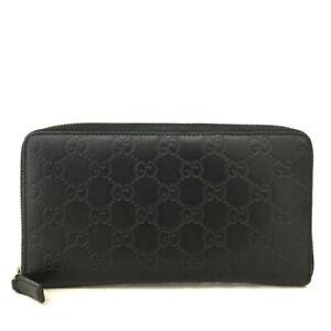 GUCCI Shima GG Logo  Leather Zippy Around Long Wallet / /E0856