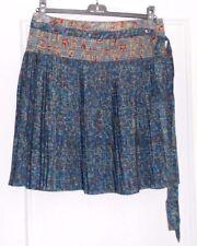 Jolie jupe portefeuille plissée bleu motifs bordeaux ocre COTELAC T 1 TBE