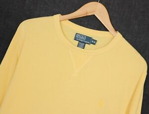 POLO by RALPH LAUREN Crew Neck Yellow Cotton Blend Jumper Sweatshirt Men Size M