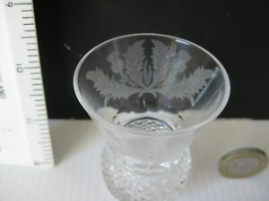 MINIATURE ENGRAVED & CUT CRYSTAL THISTLE  SHAPED TOT SHOT GLASS