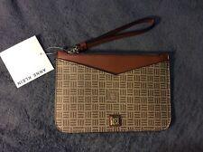 Anne Klein Lion Logo Mocha Brown Wristlet Wallet Clutch NWT