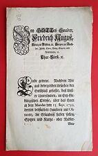 Anschlag Bekanntmachung Sachsen 28.6.1757 Erzgebirge Hausieren Olitäten ( F16665