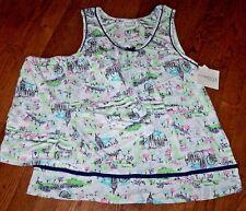 NWT Company Ellen Tracy White/Green/Blue LONDON Slinky Pajama Shorts/Top Set S