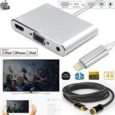 Plug & Play 4 in 1 iPhone 8 Xs/XR iPad iPod Lightning to HDMI VGA Audio Adapter