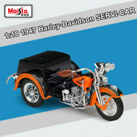 New 1/18 1947 Harley-Davidson SERVI-CAR Diecast Model Motorcycle Toy By Maisto