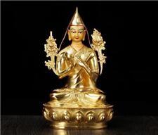 "9"" Antique Tibet Tibetan Buddhism copper gilt hand painting Tsongkhapa statue"