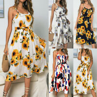 Womens Drawstring Floral Buttons Tank Strappy Sundress Ladies Swing Midi Dress