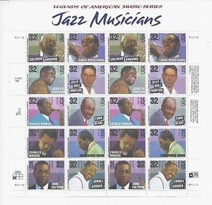 American Music Series- 2983-2992 1995 32c Commemorative Pane of 20 - Mint NH