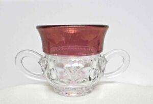 Antique KING'S CROWN SUGAR BOWL TIFFIN  2 Handles Cranberry Clear