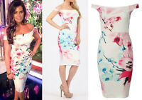 Womens Celeb Off Shoulder Bardot Lily Floral Bodycon Wedding Party Prom Dress