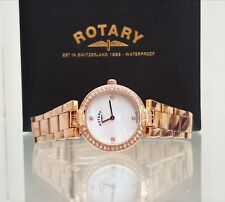 ROTARY Ladies Watch Swarovski Crystals Mother Of Pearl Rose Gold RRP£169 VGC (R8