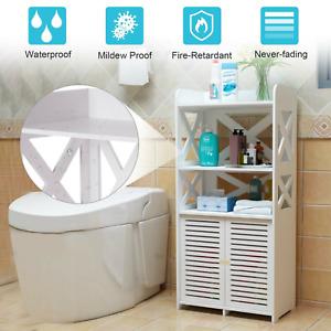 Wooden Bathroom Cabinet Shelf Cupboard Bedroom Storage Unit Free Standing White