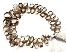 "Natural Gem Golden Rutile Quartz Smooth Pear Shape Briolette Beads Strand 10"""