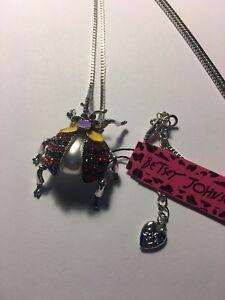 Betsey Johnson Crystal Enamel Cute RED Beetle Pendant Long Necklace-6515